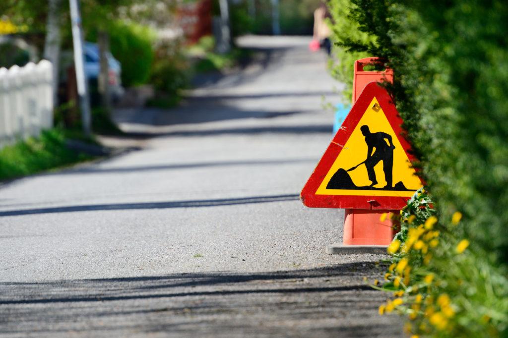 Grävjobb på Erik Dahlbergsvägen